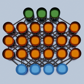 4 blue circles under 3 rows of 6 orange circles under 3 green circles, all interconnected by black lines
