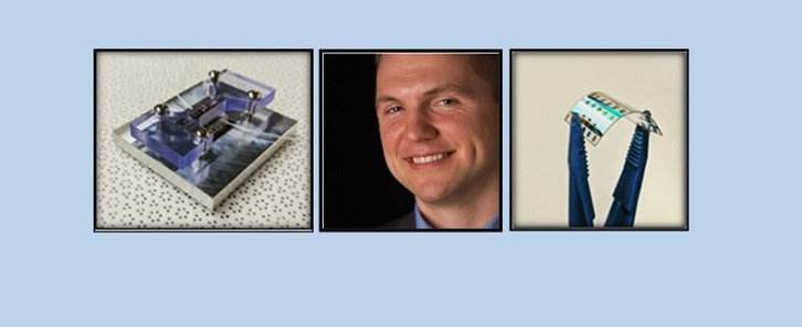 From left to right: Biosensor, Headshot of Benoît Lessard, Blue tongs holding a small thin film transistor