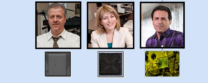 En haut, gauche a droite : portraits de P. Berini, K. Hinzer, G. Jabbour. En bas, gauche a droite : nano-antennes, photopile, carte de circuits imprimés connectée à l'équipement de laboratoire