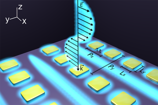 An artist's view of a metasurface consisting of a rectangular array of rectangular gold nanostructures generating plasmonic surface lattice resonances