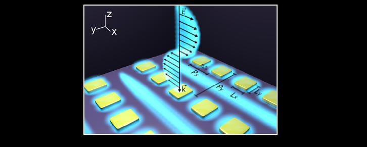 Représentation artistique d'une métasurface consistant en un réseau rectangulaire de nanostructures d'or rectangulaires générant des résonances plasmoniques de surface