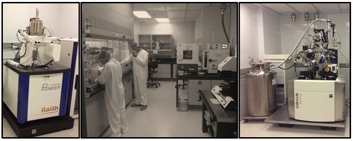 Du gauche a droite : Raith Pioneer, Salle propre jaune, Orion NanoFab
