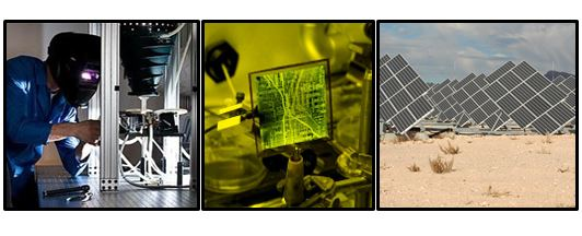 Left to right: Researcher conducting solar cell testing, computer circuit board hooked up to lab equipment, photolvoltaics in the desert