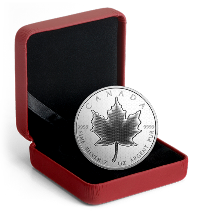 Silver coin with a maple leaf in the centre sitting in a red box