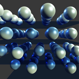 Rows of 3D blue and white balls