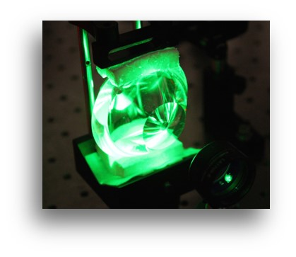 Image of a novel device with green light