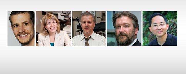 Portraits de gauche a droite : A. Weck, K. Hinzer, P. Berini, T. Hall, J. Yao