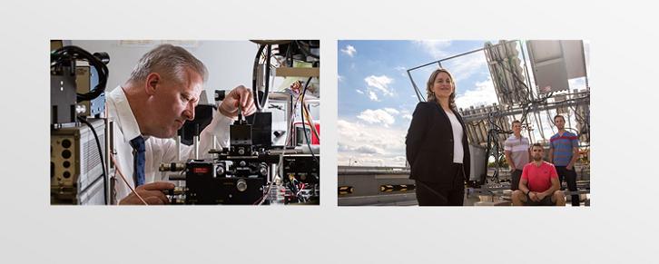 Gauche: Pierre Berini avec son équipement de recherche; Droite: Karin HIinzer et 3 de ses étudiants dehors devant l'équipement solaire