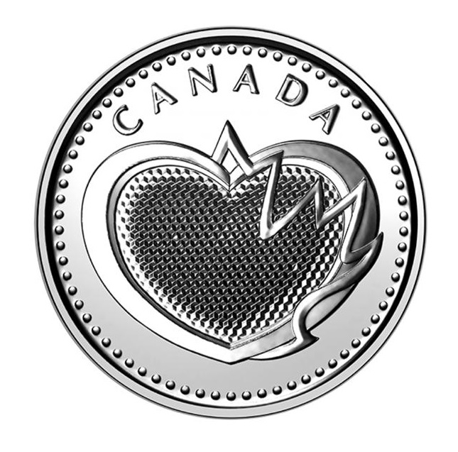 Silver coin with a heart in the centre
