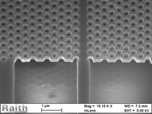 Image des guides à ondes nanofabriqués