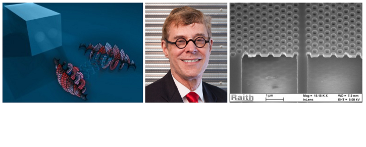 From left to right: Image of entangled photons, Headshot of Dr. Boyd, Image of nanofabricated waveguides
