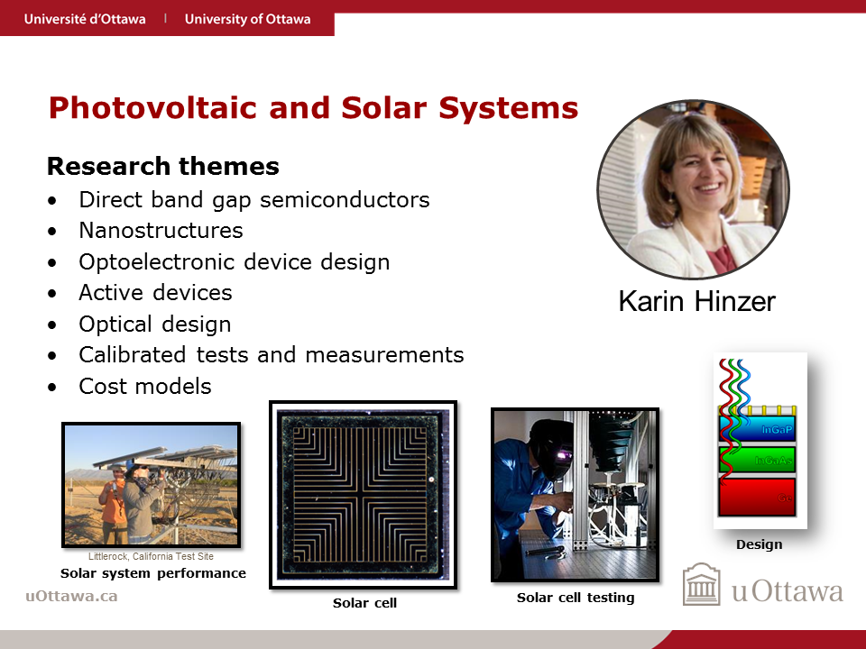 Karin Hinzer: Photovoltaic and Solar Systems