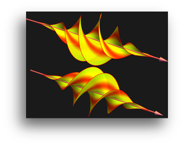 Image of red and yellow twisted waves