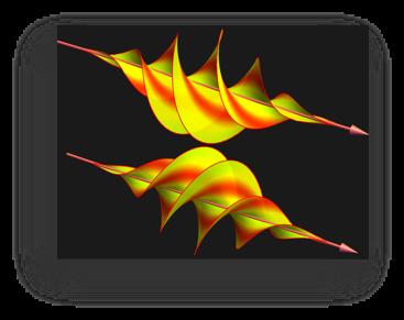 Image des ondes vrillées en jaune et rouge