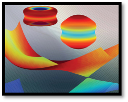 Image of various colourful shapes depicting ultrafast molecular electronic dynamics